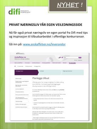PRIVAT NÆRINGSLIV FÅR EGEN VEILEDNINGSSIDE