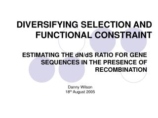 DIVERSIFYING SELECTION AND FUNCTIONAL CONSTRAINT