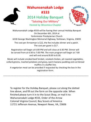 "Wahunsenakah Lodge #333  2014 Holiday Banquet ""Saluting Our Military"" Hosted by Wicomico Chapter"