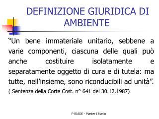 DEFINIZIONE GIURIDICA DI AMBIENTE