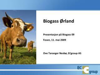 Biogass Ørland Presentasjon på Biogass 09  Fosen, 11. mai 2009 Ove Taranger Nesbø, ECgroup AS