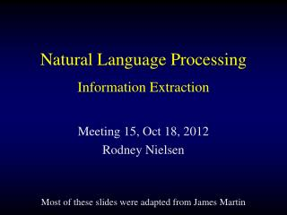 Natural Language Processing Information Extraction