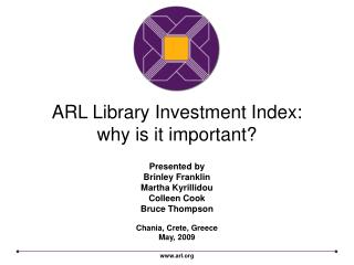 ARL Library Investment Index:  why is it important?