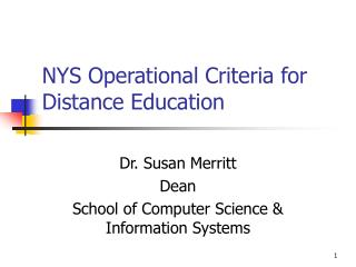 NYS Operational Criteria for Distance Education