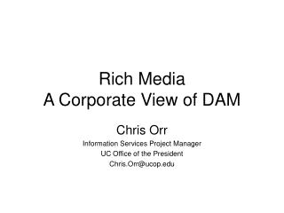 Rich Media A Corporate View of DAM