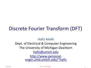 Discrete Fourier Transform DFT