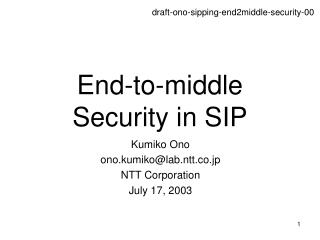 End-to-middle Security in SIP