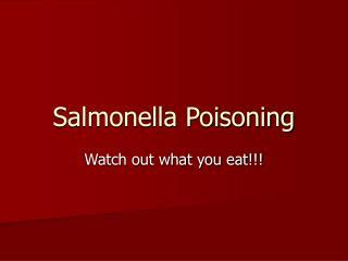 Salmonella Poisoning
