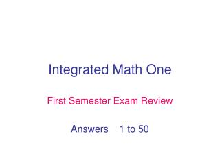 Integrated Math One