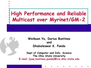 High Performance and Reliable Multicast over Myrinet/GM-2