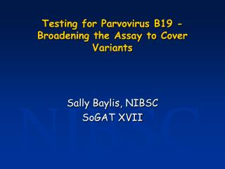 Testing for Parvovirus B19 - Broadening the Assay to Cover Variants