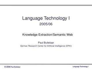 Language Technology I 2005/06