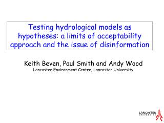 Testing hydrological models as hypotheses: a limits of acceptability approach and the issue of disinformation