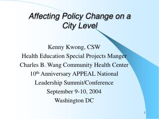 Affecting Policy Change on a  City Level