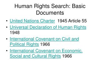 Human Rights Search: Basic Documents