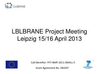 LBLBRANE Project Meeting Leipzig 15/16 April 2013