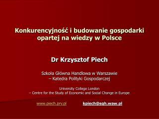 Konkurencyjność i budowanie gospodarki opartej na wiedzy w Polsce