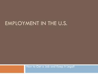 Employment in the U.S.