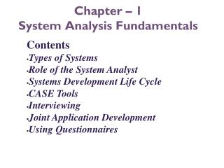 Chapter – 1 System Analysis Fundamentals