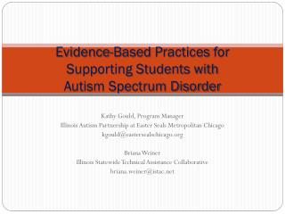 Evidence-Based  Practices  for  Supporting Students with  Autism Spectrum Disorder