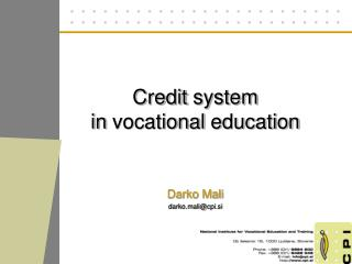 Credit system in  vocational education