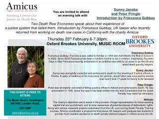 Thursday 25 th  February 6-7.30pm:  Oxford Brookes University, MUSIC ROOM