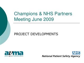 Champions & NHS Partners Meeting June 2009