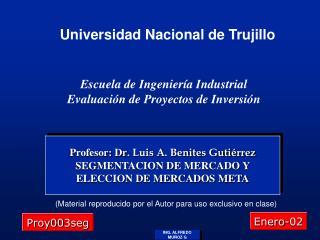 Profesor: Dr . Luis A. Benites Gutiérrez SEGMENTACION DE MERCADO Y ELECCION DE MERCADOS META