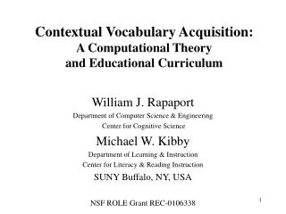 Contextual Vocabulary Acquisition: A Computational Theory and Educational Curriculum