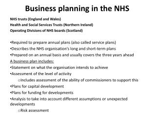 Business planning in the NHS