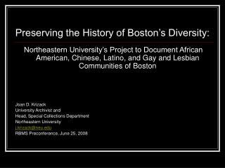 Preserving the History of Boston's Diversity:
