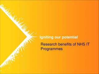 Research benefits of NHS IT Programmes