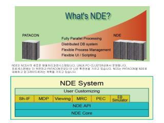 NDE 는  NCS 사의 새로운 병렬처리과정시스템입니다 . LINUX PC-CLUSTER 상에서 운영됩니다 .