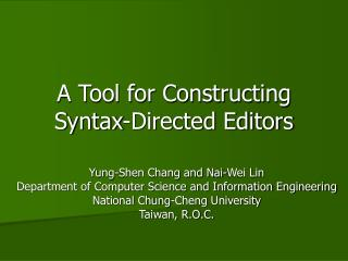 A Tool for Constructing Syntax-Directed Editors