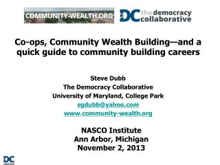 Co-ops, Community Wealth Building�and a quick guide to community building careers