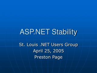 ASP.NET Stability