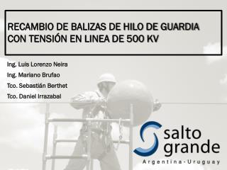 RECAMBIO DE BALIZAS DE HILO DE GUARDIA CON TENSIÓN EN LINEA DE 500 KV