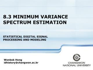 8.3 MINIMUM VARIANCE SPECTRUM ESTIMATION