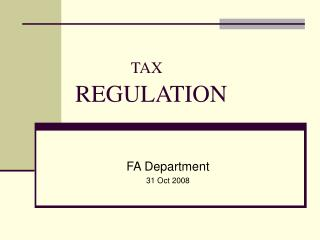 TAX REGULATION