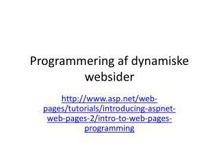 Programmering af dynamiske websider