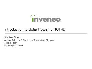 Introduction to Solar Power for ICT4D