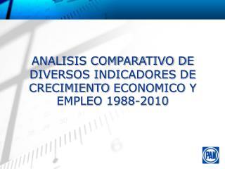 ANALISIS COMPARATIVO DE DIVERSOS INDICADORES  DE CRECIMIENTO  ECONOMICO Y EMPLEO 1988-2010