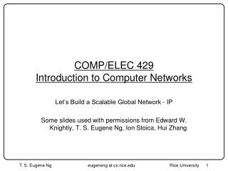 COMP/ELEC 429 Introduction to Computer Networks