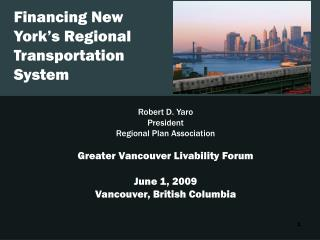 Financing New York�s Regional Transportation System