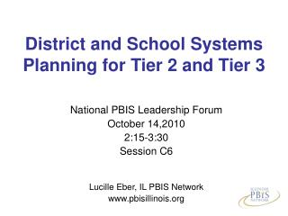 District and School Systems Planning for Tier 2 and Tier 3