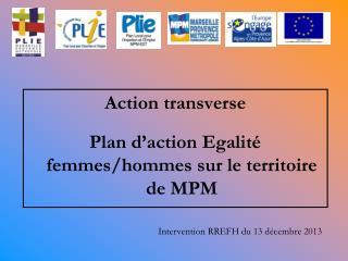 Action transverse Plan d'action Egalité femmes/hommes sur le territoire de MPM