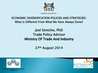 ECONOMIC DIVERSIFICATION POLICIES AND STRATEGIES :