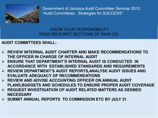 "Government of Jamaica Audit  Committee Seminar 2013 ""Audit Committees : Strategies for SUCCESS"""