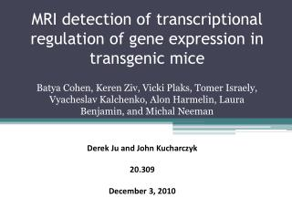 MRI detection of transcriptional regulation of gene expression in transgenic mice