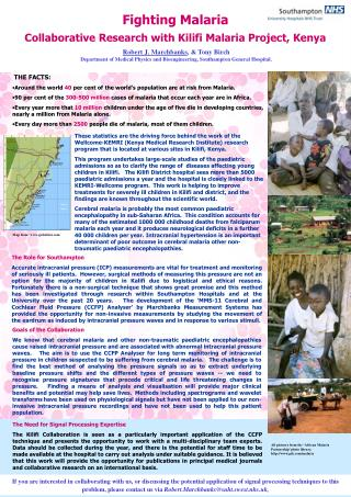 Fighting Malaria Collaborative Research with Kilifi Malaria Project, Kenya